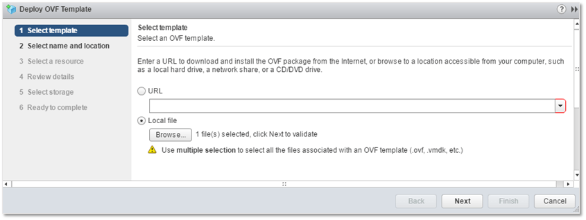 Figure 4 - Specify the local folder under which the OVF file is stored