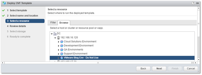 Figure 6 - Selecting a resource pool for Log Insight