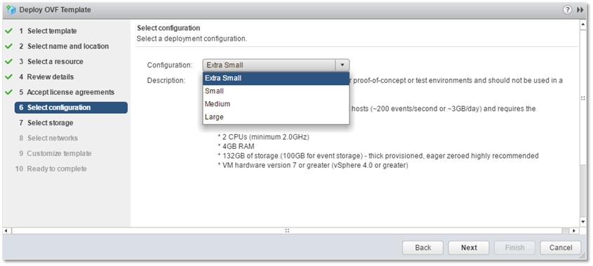 Figure 8 - Sizing a Log Insight deployment