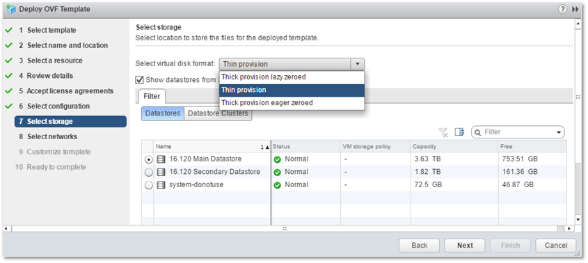 Figure 9 - Selecting a datastore for Log Insight