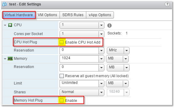 Figure 8 - Adding hardware Hot Add capabilities to a VM