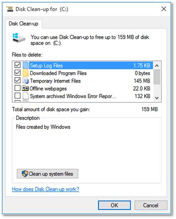 Figure 9 - Windows in-built Disk Clean-up tool