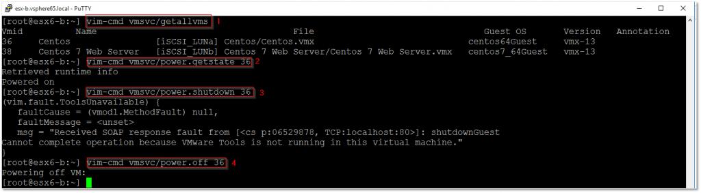 Using vim-cmd to terminate a VM
