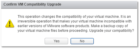Figure 1 - Upgrading the hardware or compatibility of a VM