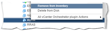 Figure 9 - Removing a VM from inventory