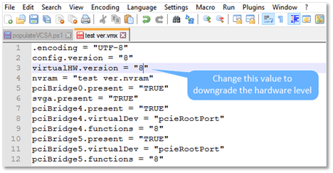 Figure 10 - Editing the VMX file ...