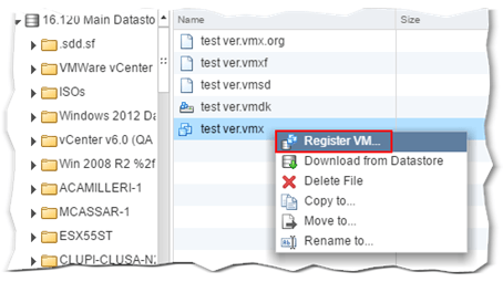 Figure 11 - Using the VMX file to register a VM