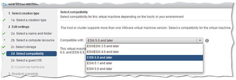 Figure 3 - Specifying the hardware version when creating a new VM