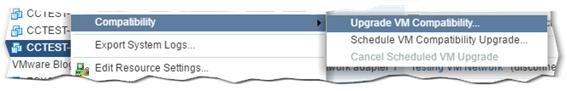Figure 5 - Upgrading VM hardware in vSphere Web client