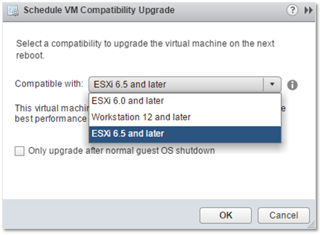 Figure 6 - Scheduling a VM hardware upgrade from vSphere Web client