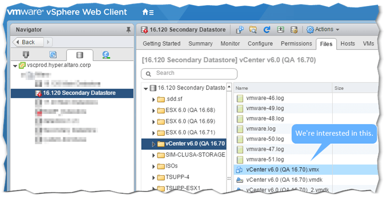 Figure 4 - Navigating the VM folder hierarchy in vSphere Web Client