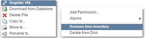 Figure 5 - Registering and removing a VM from inventory