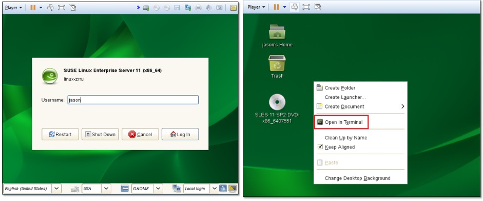 Figure 4 and 5 - Logging in SUSE and launching a terminal window