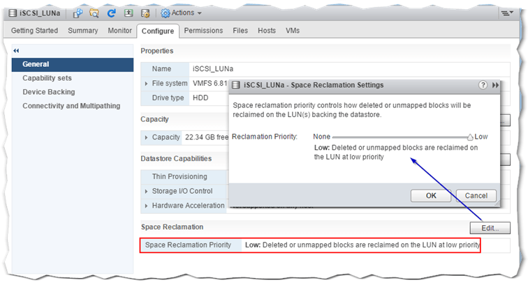 Figure 1 - Automatic space reclamation with vSphere 6.5 and VMFS-6 datastores