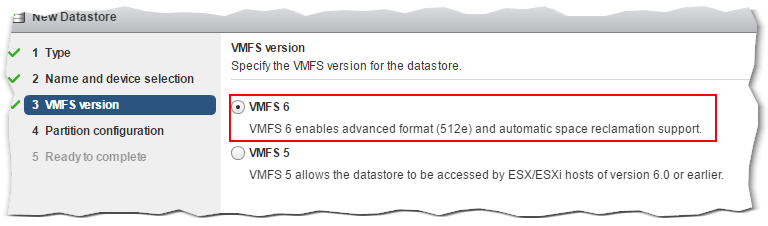 Figure 9 - Selecting the VMFS type for the new datastore