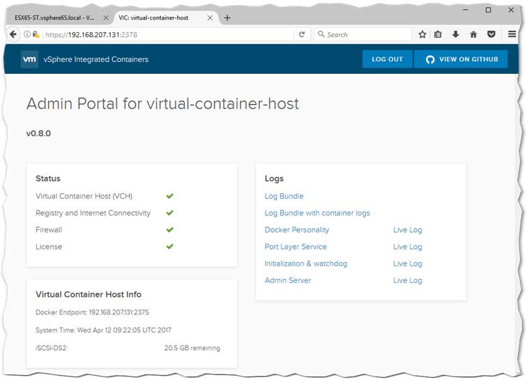 Figure 5 - The admin portal for VCH