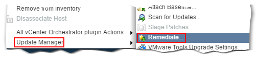 Figure 11 - Remediating a host from the context menu