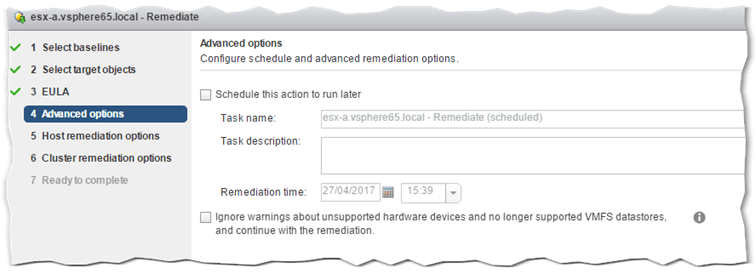 Figure 15 - Remediation Step 4 - Scheduling the remediation task (Optional)