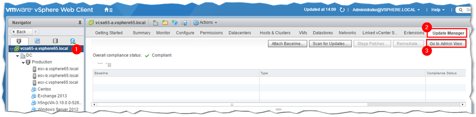 Figure 2 - Changing to VUM's Admin view in vSphere Web client