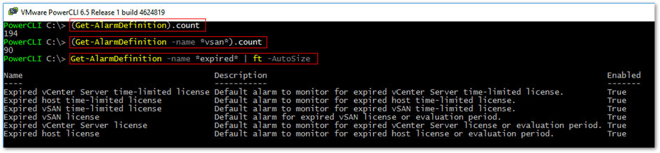 Using PowerCLI cmdlets to retrieve alarm definitions related info