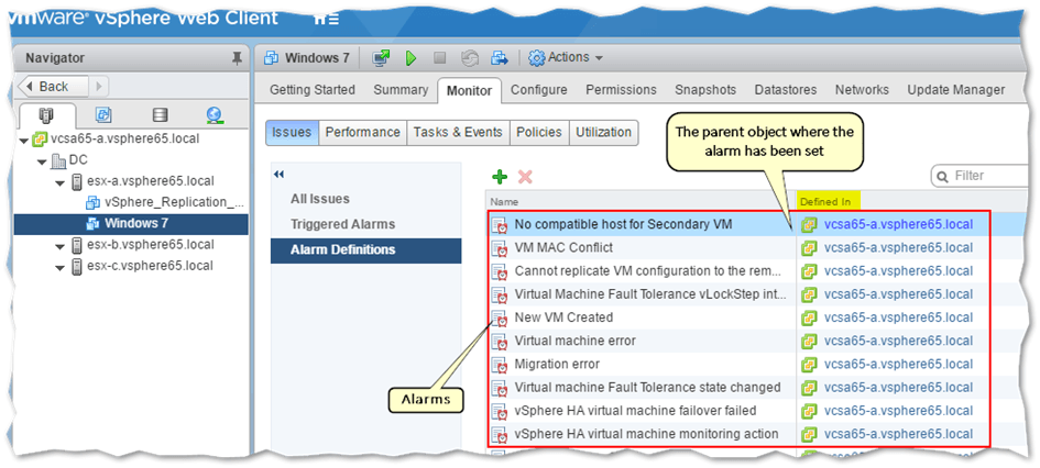 Viewing the alarms set for a specific VM