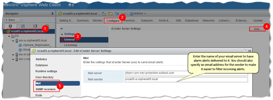 Configuring vCenter Server for SMTP and SNMP
