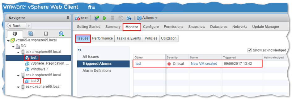 An icon is displayed next to the VM name once an alarm is triggered. The triggering alarm definition can be determined from the Triggered Alarms page for the selected VM.