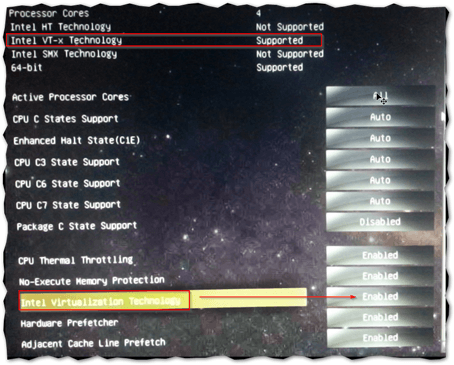 Intel VT-x virtualization support