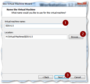 Type a name for the VM and specify the location