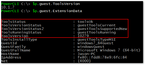 Figure 3 - Using PowerCLI to query the state of vmtools on VMs