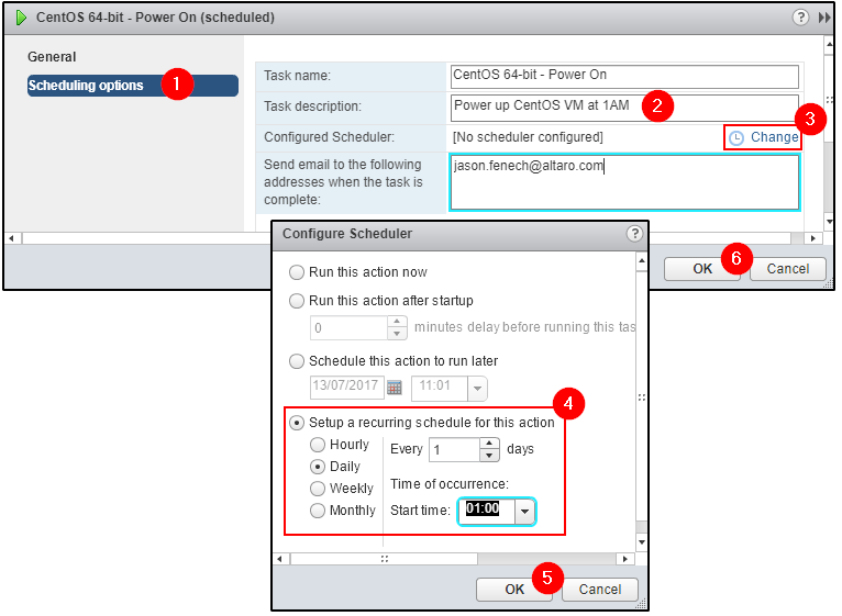 Setting a recurring scheduled task