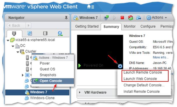 Remote console using the vSphere Web client