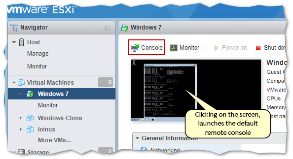 Remote console using the host client (ESXi embedded)