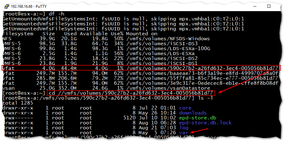 Checking for free disk space on ESXi