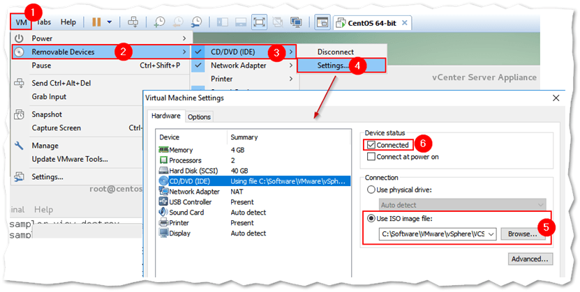 Mounting an ISO image as a CD/DEV device in VMware Workstation