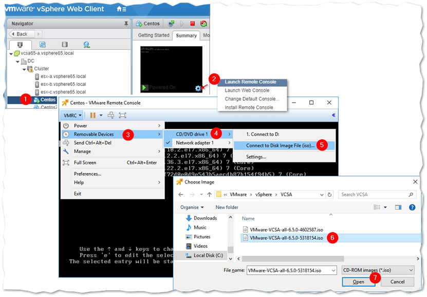 Mounting an ISO image as a CD/DEV device on VMs hosted on ESXi