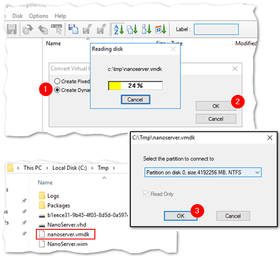 Converting a VHD file to VMDK format using WinImage