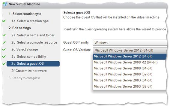 Selecting Windows Server 2012/2016 as the OS Family / version for the Nano Server VM
