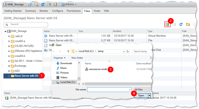 Uploading a VMDK to the VM's folder using datastore browser