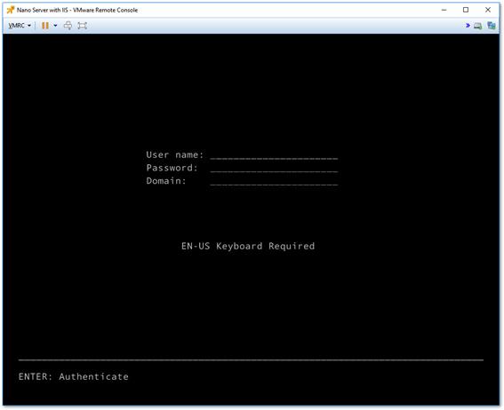 Nano Server's Recovery Console log on screen