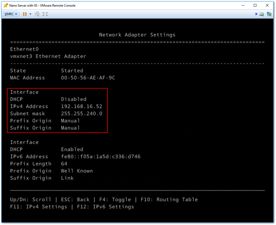 Manually setting the network configuration via the recovery console