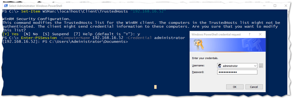 Establishing a remote PowerShell session on Nano from a Windows client