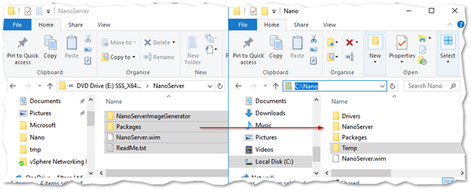 Copying the Nano distribution files from a Windows Server 2016 ISO
