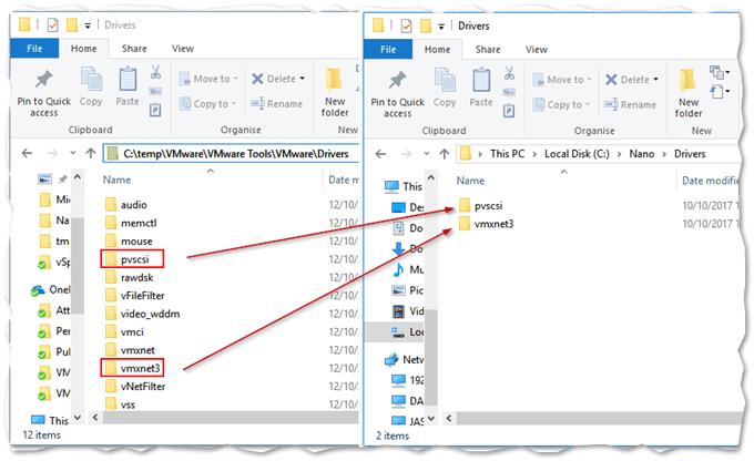 Copying VMware drivers to the Nano distribution folder
