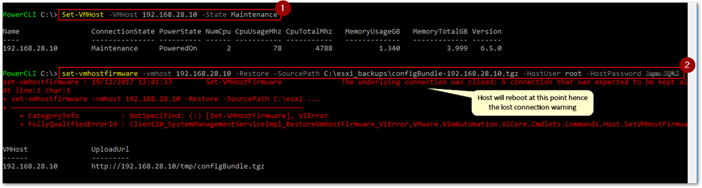 Restoring the configuration of a host using PowerCLI