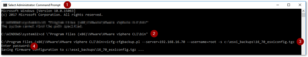 Using vicfg-cfgbackup to back up an ESXi's configuration