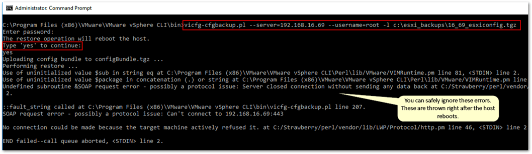 The vicfg-cfgbackup command is used for both backups and restores