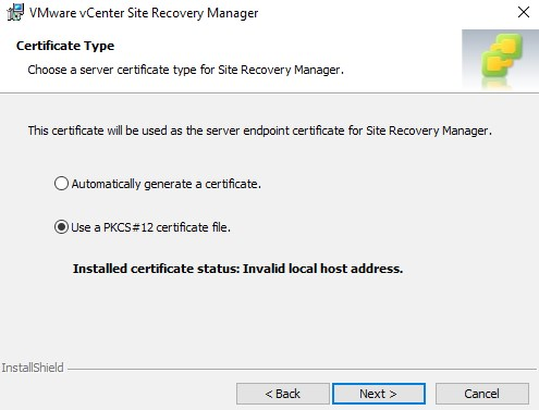 Select Use a PKCS12 certificate file in the next panel.