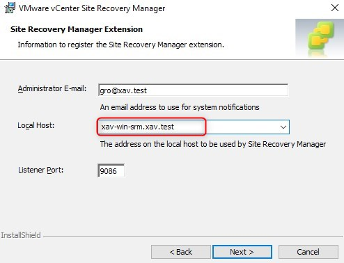 Site Recovery Manager Extension Local Host