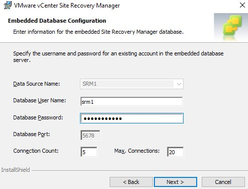 Type the password embedded database configuration